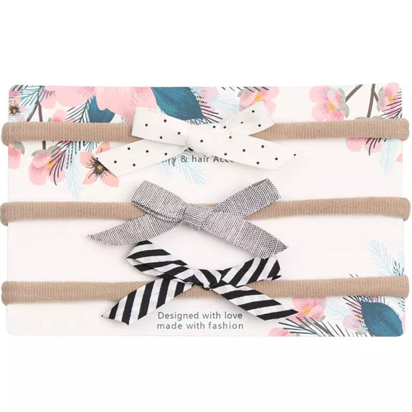 Bow Sweet Minis - White & Black - Set of 3-Headbands-[Calgary]-[Alberta]-[Canada]-[Affordable Children's Clothing]-Stinky Bunny