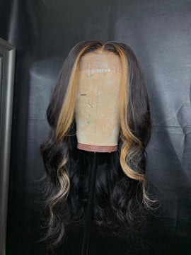 Closure Wig w/ Blonde Streaks