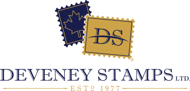 Deveney Stamps Logo, Canadian philatelic specialists, largest Canadian stamp store online! Thousands of stamps to choose from, enjoy shopping for your collection from the comforts of home.