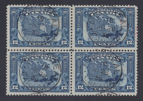 0145CA1807 - Canada #145 Used Block of 4 - Unlisted Variety