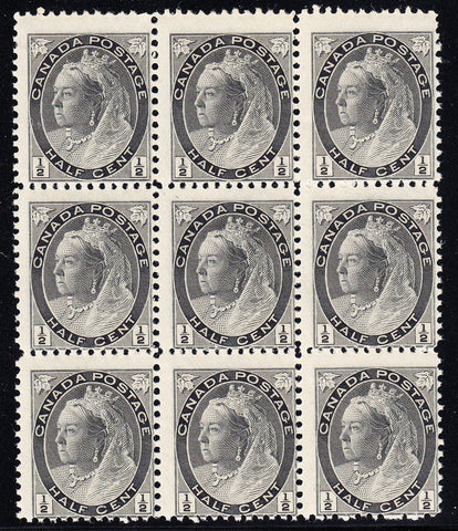 0074CA1708 - Canada #74ii - Mint Major Re-Entry Block of 9