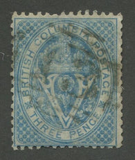 0007BC1707 - British Columbia #7 - Used Numeral Cancel '13' - Deveney Stamps Ltd. Canadian Stamps