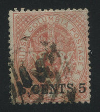0009BC1707 - British Columbia #5 - Used - Deveney Stamps Ltd. Canadian Stamps