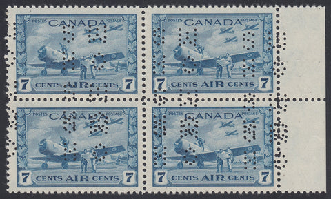 0007CA1805 - Canada OC7 'C X' - Mint Block of 4