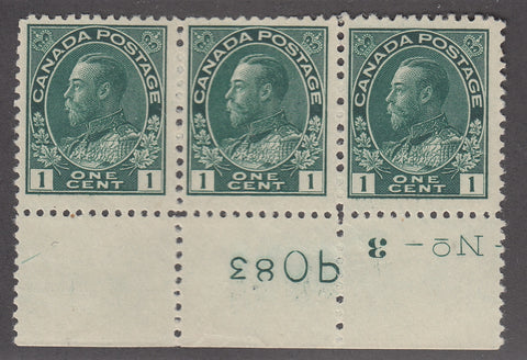 0104CA1711 - Canada #104 Plate Strip of 3