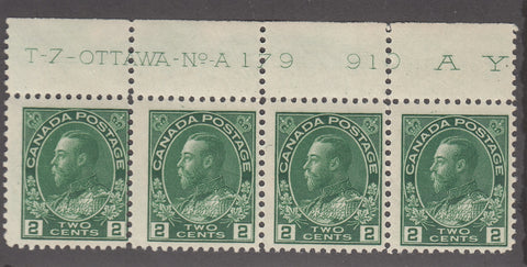 0107CA1711 - Canada #107 Plate Strip of 4