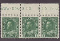 0107CA1711 - Canada #107 Plate Strip of 3