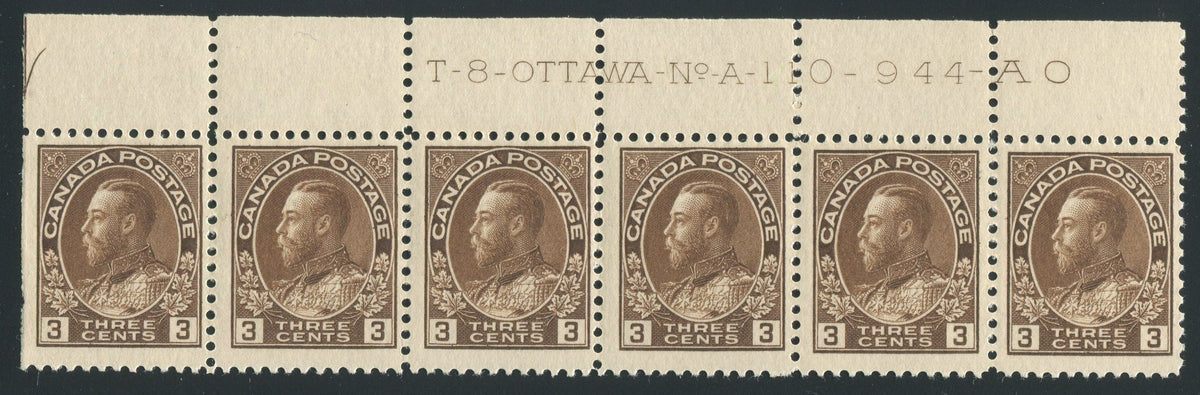 0108CA1710 - Canada #108 Plate Strip of 6