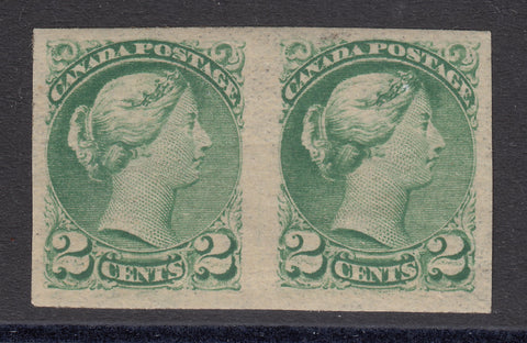 0036CA1710 - Canada #36iii, f - UNLISTED Double Impression Imperf Pair