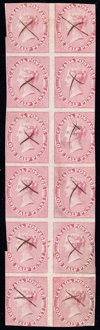 0008CA1803 - Canada #8 - Used Block of 12 - Re-Entries, w/ Cert