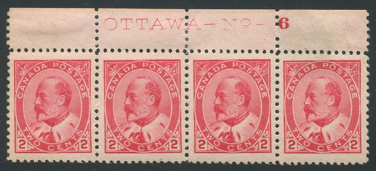 0090CA1710 - Canada #90 Plate Strip of 4