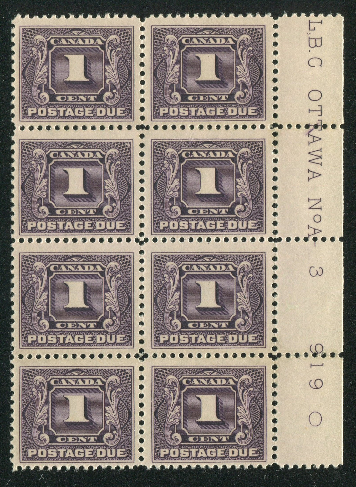 0117CA1710 - Canada J1 - Mint Plate Block of 8