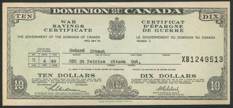 0001WS2001 - $10 War Savings Certificate