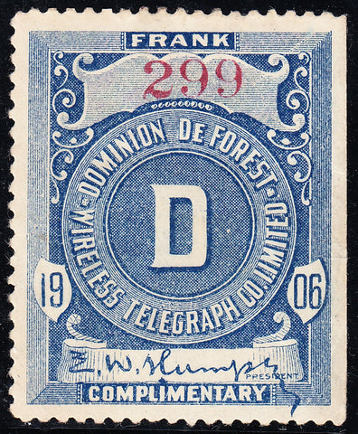 0083TG1709 - TDF1, 1906 Dominion De Forest Telegraph †