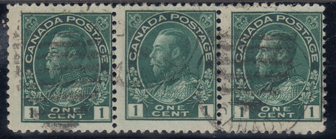 0104CA1708 - Canada #104 - Used Strip of 3, Misaligned Variety