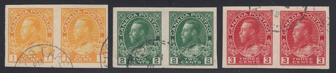 0136CA1803 - Canada #136 - 138 Imperf Pair Set
