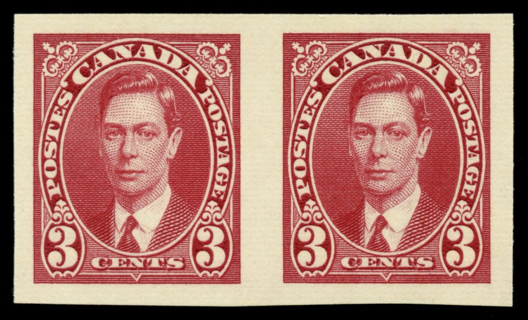 0233CA1708 - Canada #233bi - Mint Imperf Pair, Crease on Collar Variety