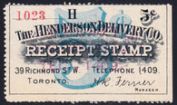 0001CP1610 - Canada Revenue Receipt Stamp - HENDERSON DELIVERY CO.