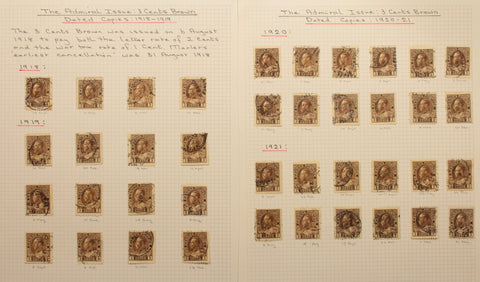0108CA1710 - #108, 3c brown calendar collection, all dated copies (66)