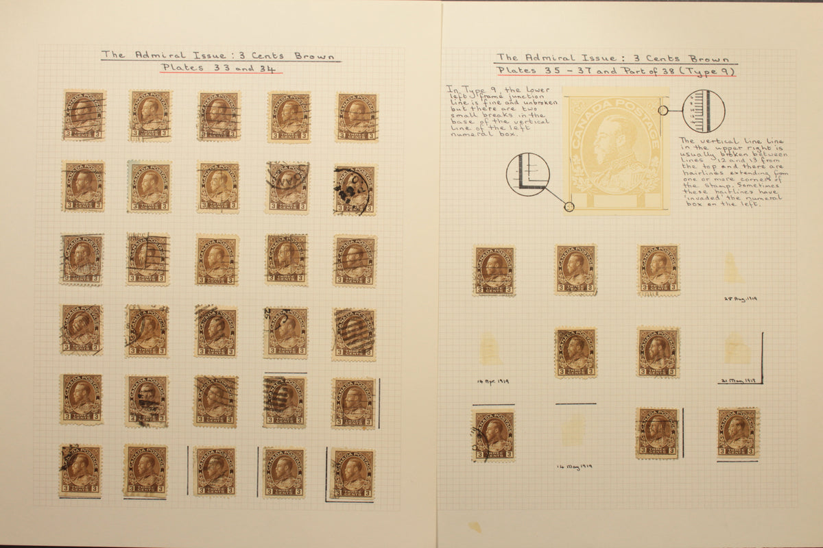 0108CA1710 - #108, 3c brown Marler study lot, stamps & covers (400+)