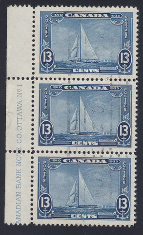 0216CA1708 - Canada #216 - Used Strip of 3. UNLISTED Re-entry