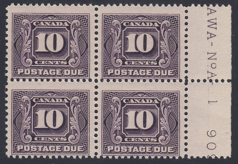 0121CA1805 - Canada J5 - Mint Plate Block of 4