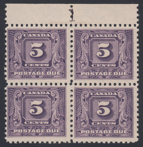 0125CA1805 - Canada J9 - Mint Plate Block of 4