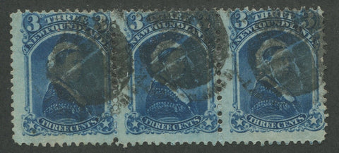 0034NF1707 - Newfoundland #34 - Used Strip of 3