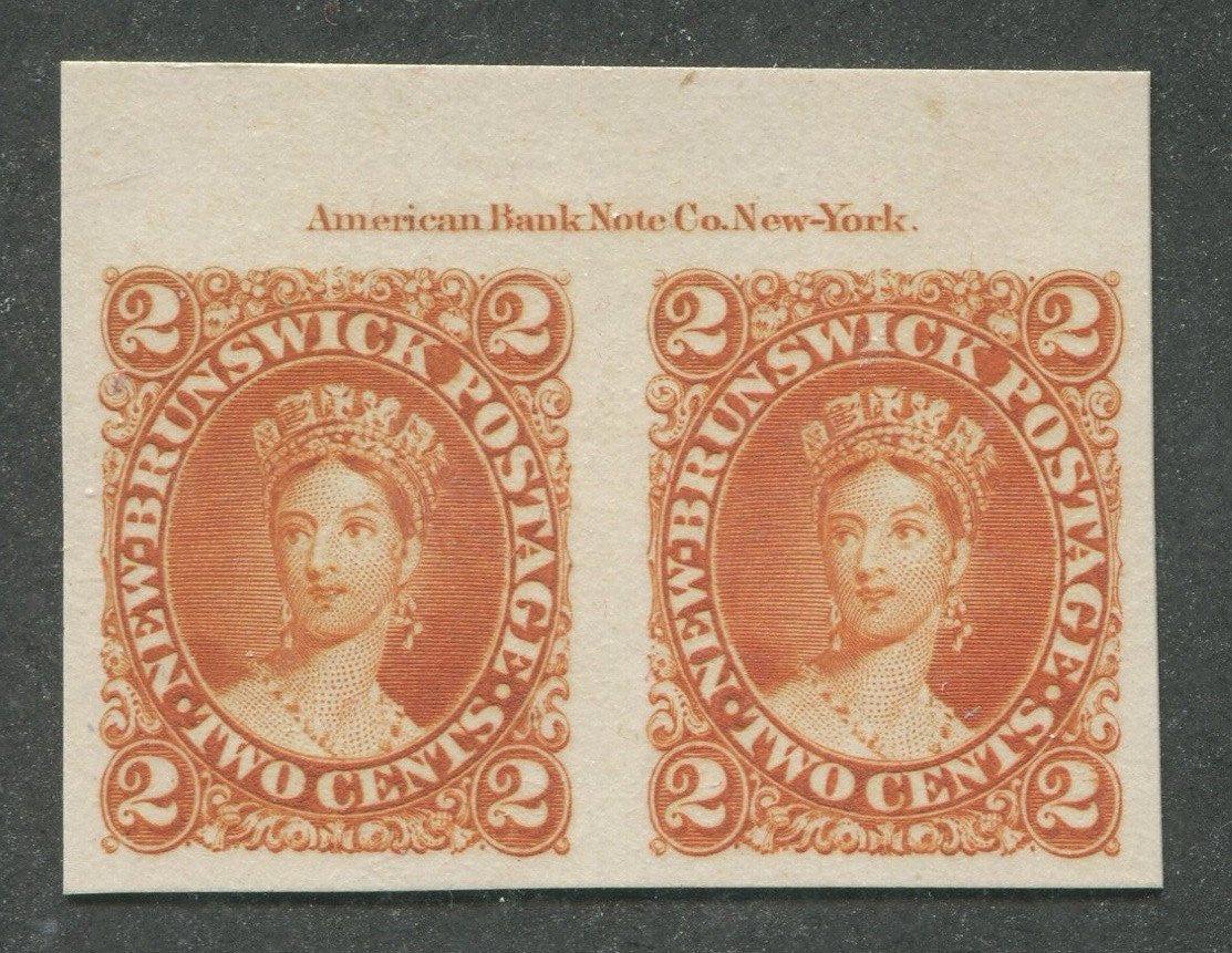 0007NB1707 - New Brunswick #7Pi - Proof, Pair - Deveney Stamps Ltd. Canadian Stamps