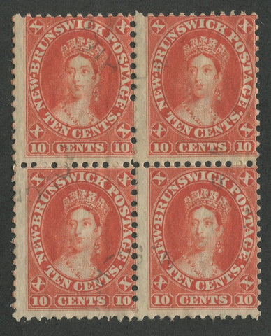 0009NB1707 - New Brunswick #9 - Used Block of 4 - Deveney Stamps Ltd. Canadian Stamps