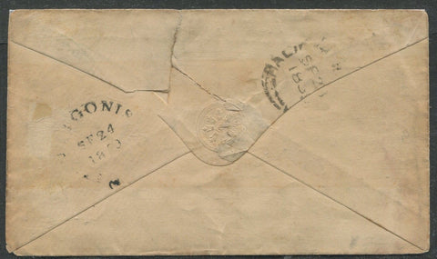 0005NS1708 - Nova Scotia #5a - Used, Tied to cover - Deveney Stamps Ltd. Canadian Stamps