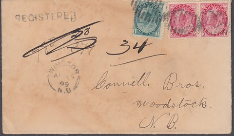 0075NB1807 - #75 & 78 pair on 'Windsor', N.B. Registered Cover