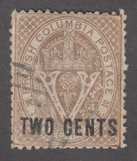 0008BC1711 - British Columbia #8 - Used - Deveney Stamps Ltd. Canadian Stamps