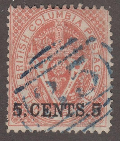 0009BC1708 - British Columbia #9 - Used, Victoria - Deveney Stamps Ltd. Canadian Stamps