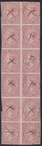 0008CA1708 - Canada #8 - Used Block of 12 - Re-Entries - Deveney Stamps Ltd. Canadian Stamps