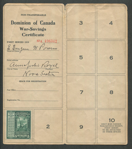 0002WS1708 - FWS2 - Used on War Savings Certificate - Deveney Stamps Ltd. Canadian Stamps