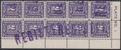 0128CA1805 - Canada J12 - Used Plate Block of 10