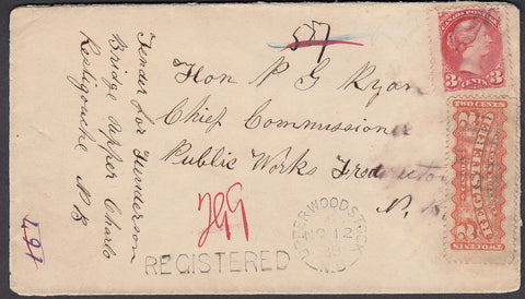 0041NB1807 - #41a & F1 on 'Upper Woodstock', N.B. Registered Cover