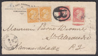 0035NB1807 - #35 Pair & 41 Pair on 'Edmundston', N.B. Registered Cover