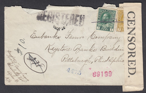 0104NB1807 - #104 & 113 on 'St John', N.B. Registered Cover 'Censored'