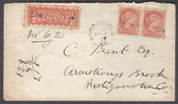 0037NB1807 - #37 Pair & F1 on 'River Charlo', N.B. Registered Cover