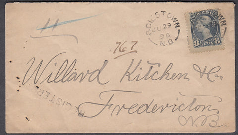 0044NB1807 - #44 on 'Boiestown', N.B. Registered Cover