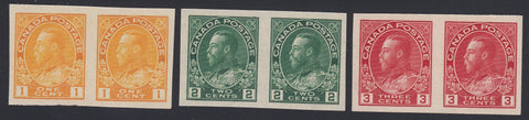 0136CA1805 - Canada #136, 137, 138 Set of Mint Imperf Pairs