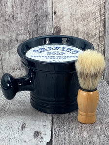Shaving Soap with Brush Set - Spearmint, Cedarwood & Orange