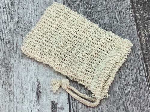 Sisal Soap Pouch with Cotton Drawstring