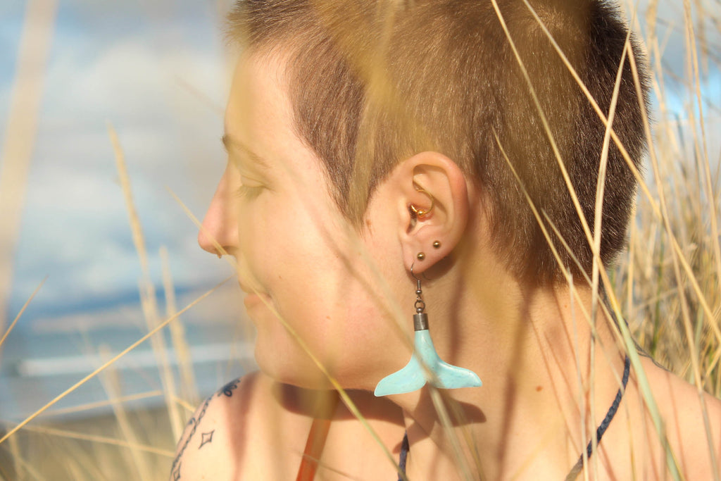 Recycled bread tag earrings, whale tails