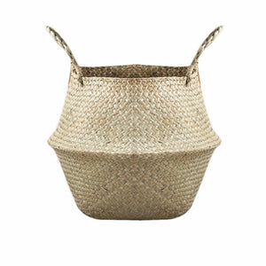 New Household Foldable Natural Seagrass Woven Storage Pot Garden Flower Vase Hanging Basket With Handle Storage Bellied Basket