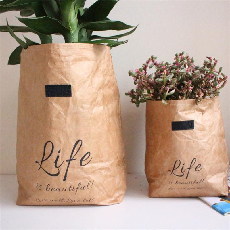 Craft Paper Flower Pot Washable Quote Life Is Beautiful Print