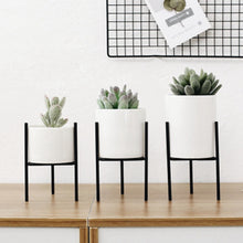 Load image into Gallery viewer, Small Plants Ceramic Flower Pot White With Geometric Iron Rack Holder Flowerpot Set