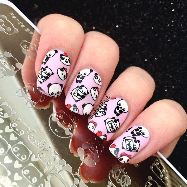 Nail Art Stamp Template Floral Panda Geometry Rectangle Manicure ...
